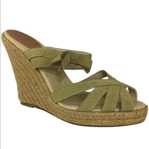 1f22dae6b2d Louboutin Gold Ribbon Espadrille Wedge Sandals 41